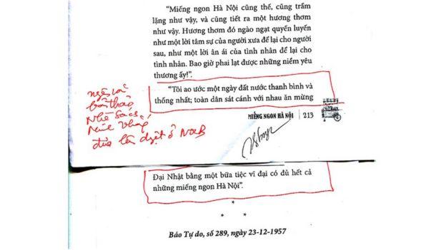 Ảnh chụp trang bản thảo cuốn Miếng ngon Hà Nội của tác giả Vũ Bằng được Nhà xuất bản Dân Trí duyệt và xuất bản liên kết với Nhà sách Minh Thắng