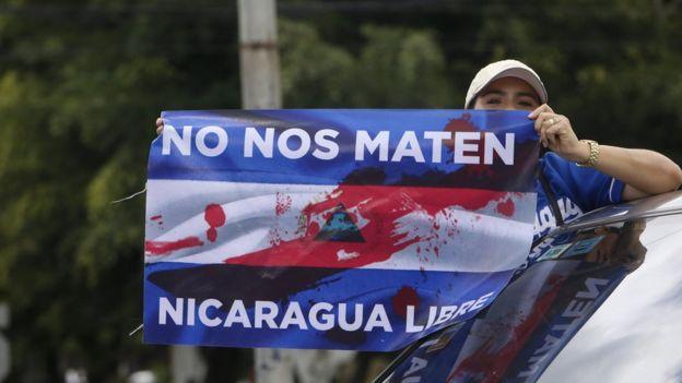 Manifestante contra Ortega en Nicaragua.