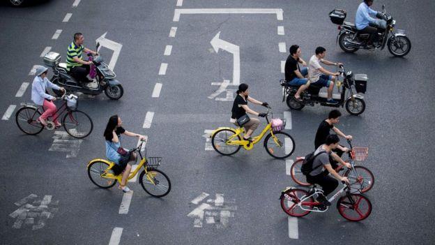 Bike riders in Shanghai