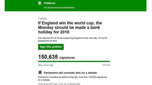 Đơn thỉnh cầu cho dân Anh nghỉ lễ ngày 15/7 nếu đội Anh vô địch World Cup gửi cho Quốc hội Anh được nhiều người ký tên
