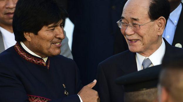 Kim Yong Nam, dirigente norcoreano y Evo Morales, presidente de Brasil.