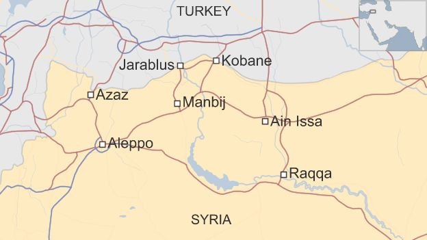 Map of Syria showing location of Manbij and roads to Aleppo, Raqqa and across the Turkish border