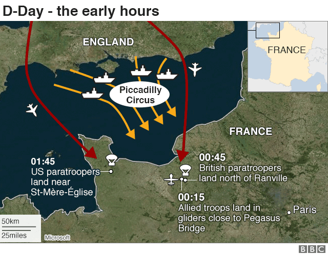D-Day map: The early hours