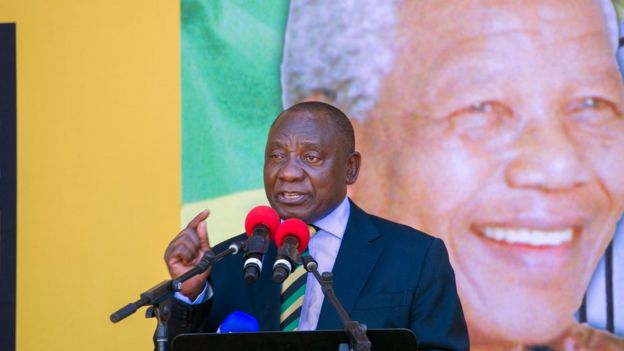 El presidente de Sudáfrica Cyril Ramaphosa durante un discurso.