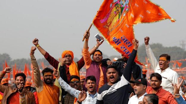 Supporters of the Vishva Hindu Parishad (VHP), a Hindu nationalist organisation, shout religious slogans