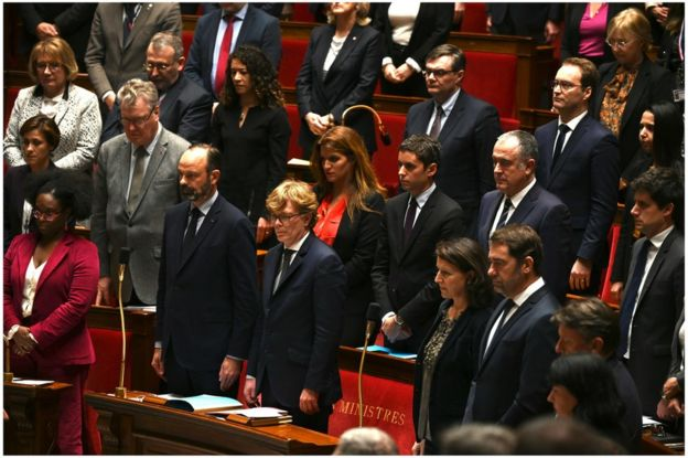 French MPs hold a minute's silence, 26 November
