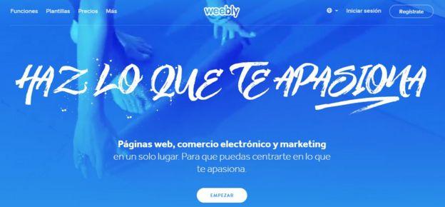 Print de pantalla de Weebly