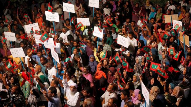 Opposition supporters protest against the government's delay in releasing their jailed leaders, including former president Mohamed Nasheed, despite a Supreme Court order, in Male, Maldives, February 4, 2018