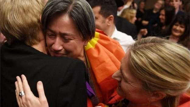 Labor Senator Penny Wong, a prominent Yes campaigner, reacts to the result