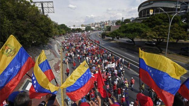 Marcha a favor de Nicolás Maduro.