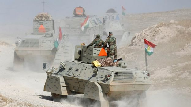 Kurdish forces advance against Islamic State militants in Mosul, Iraq, 18 October