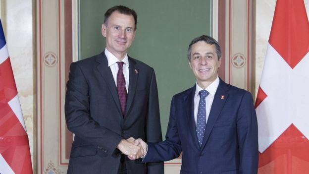UK Foreign Secretary Jeremy Hunt meeting his Swiss opposite number Ignazio Cassis last month