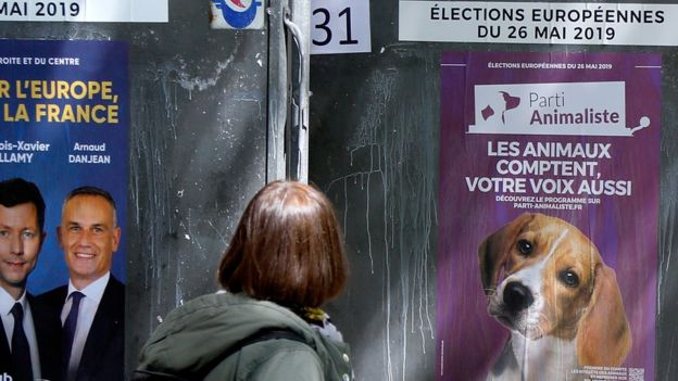 A woman looks at official European election posters outside a polling station in Paris