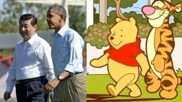 习近平与奥巴马,小熊维尼与跳跳虎