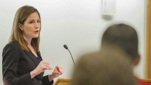 A handout photo provided by the University of Notre Dame Law School shows Judge Amy Coney Barrett teaching