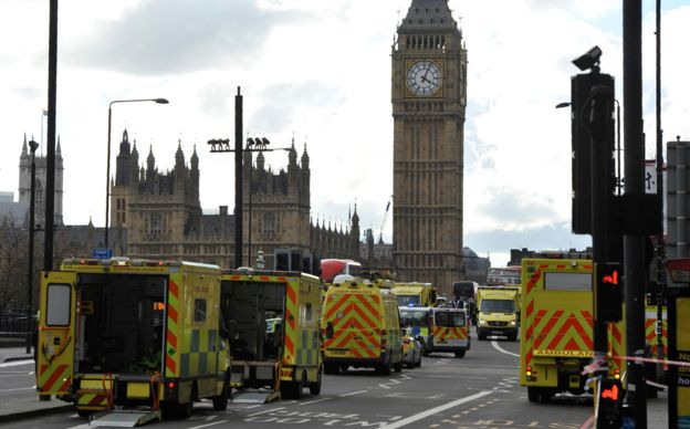 Ambulances lined up on Westminster Bridge