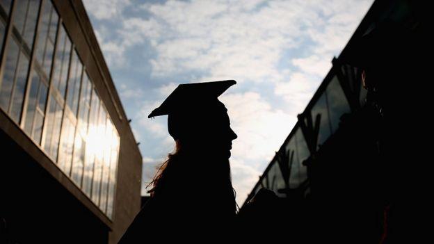 A student graduating