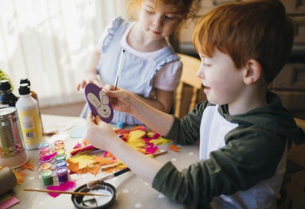 Children doing craft work