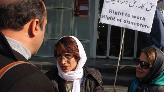 Protesta de Nasrin Sotoudeh en 2014.