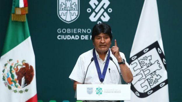 Evo Morales en una conferencia en México.