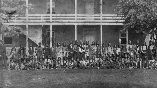 Children of the Sioux tribe newly arrived at the Carlisle school, in 1879.
