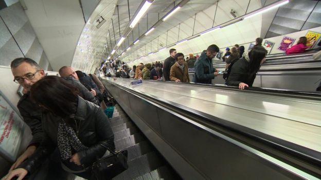 people on escalators. people standing on holborn escalator escalators b