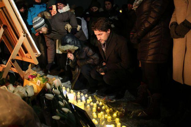 جاستین ترودو، نخست وزیر کانادا در مراسم یادبود قربانیان حادثه هواپیمای ساقط شده اوکراینی
