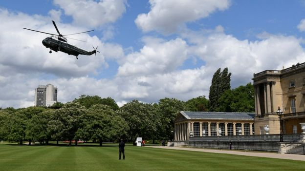Marine One lands as U.S. President Donald Trump and First Lady Melania Trump arrive at Buckingham Palace, in London, Britain,