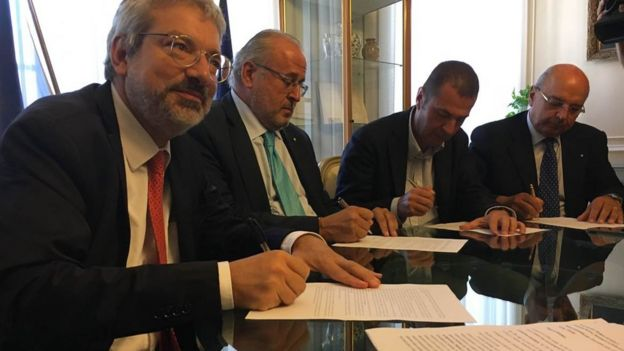 Mayor of Gorizia Rodolfo Ziberna and his counterparts from Trieste, Udine and Pordenone - Roberto Dipiazza, Furio Honsell and Alessandro Ciriani