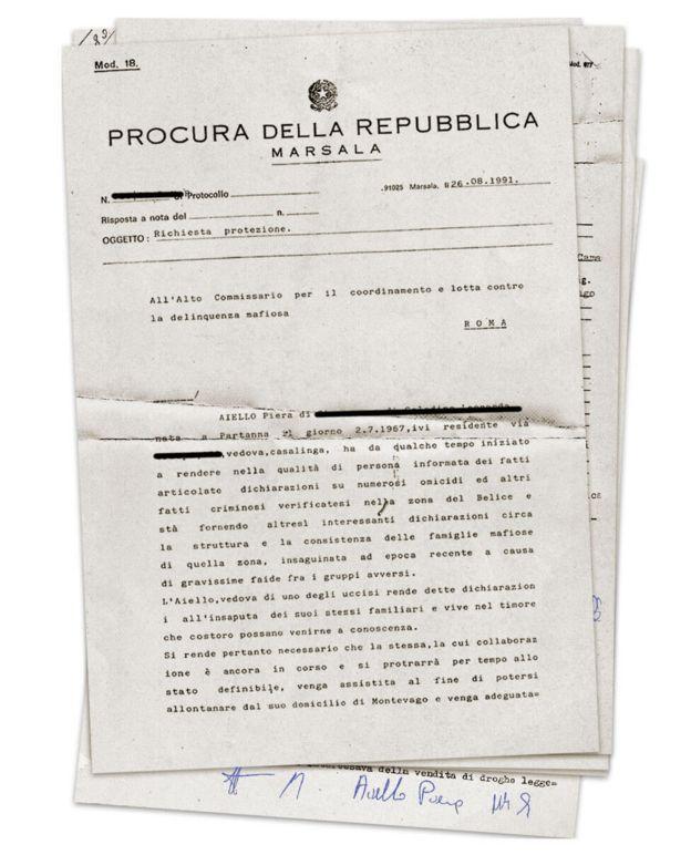 El documento con el que el tribunal pide protección policial para Piera Aiello.