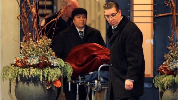One of two bodies is removed from the home of billionaire founder Barry Sherman and his wife Honey on 15 Dec 2017