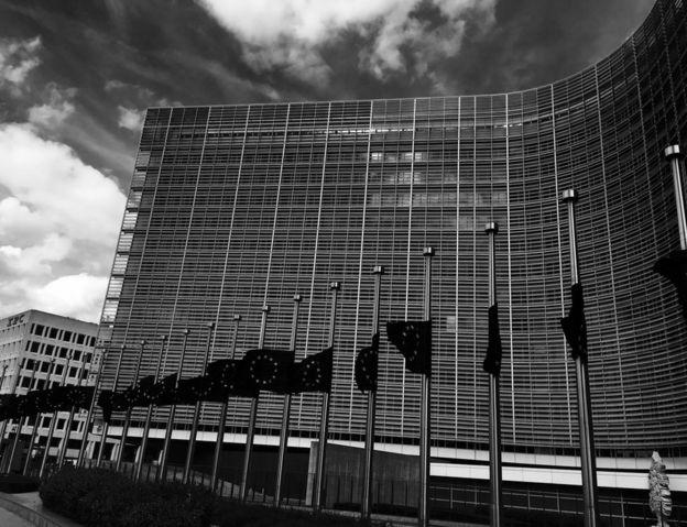 EU flags at half-mast