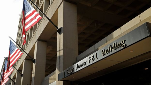 Front of the FBI Edgar J. Hoover Building in Washington DC. May 9, 2017