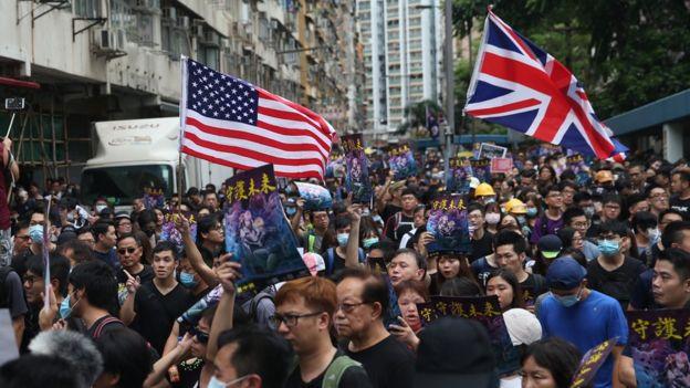 Demonstrators in Hong Kong
