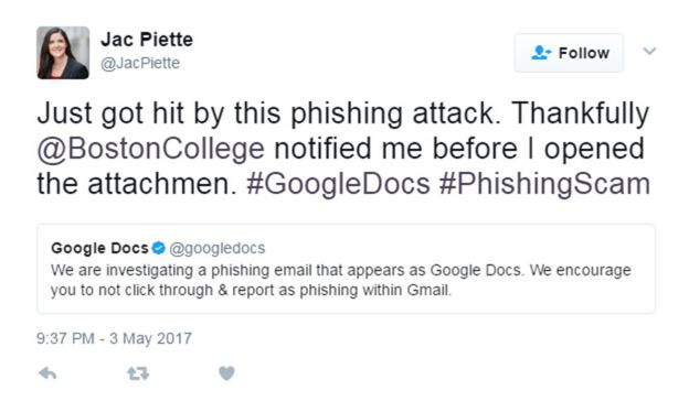 Image of tweet from a Google Docs phishing recipient