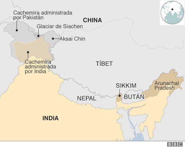 guerra - ¿Qué podría desatar una guerra entre China y la India? _96721202_china_india_border_map_spanish