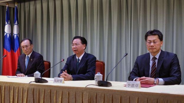Ministro de Relaciones Exteriores taiwanés Joseph Wu en una conferencia de prensa.