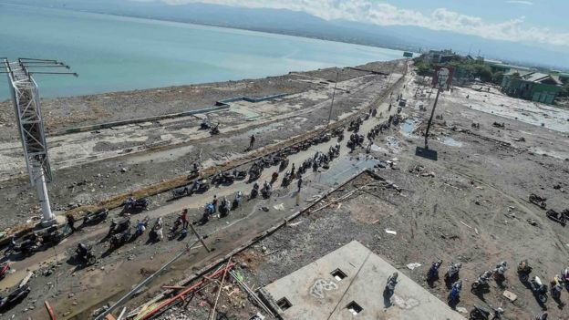 "A general view of Taman Ria""s beach which was hit by a tsunami, after a quake in West Palu, Central Sulawesi, Indonesia September 30, 2018"