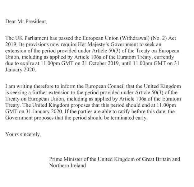 İngiltere Başbakanı Boris Johnson'ın AB'ye gönderdiği imzasız mektup