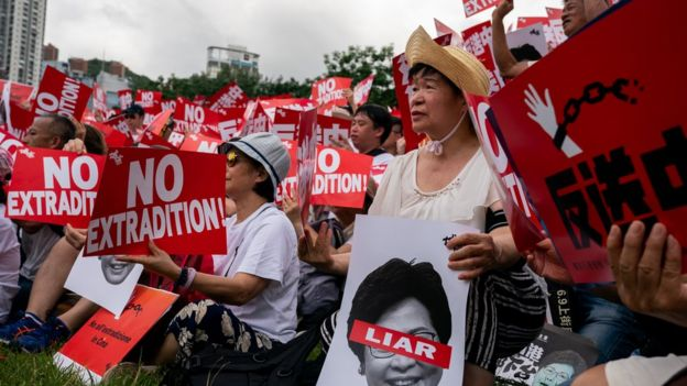 Protesters rally in Hong Kong on 9 June 2019