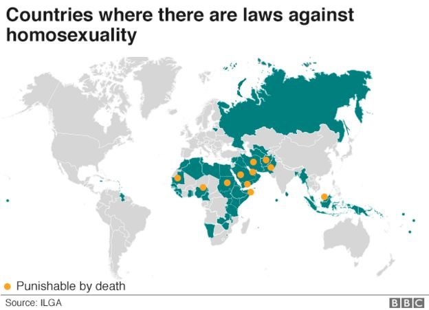 A map showing where homosexuality is illegal and where it is punishable by death