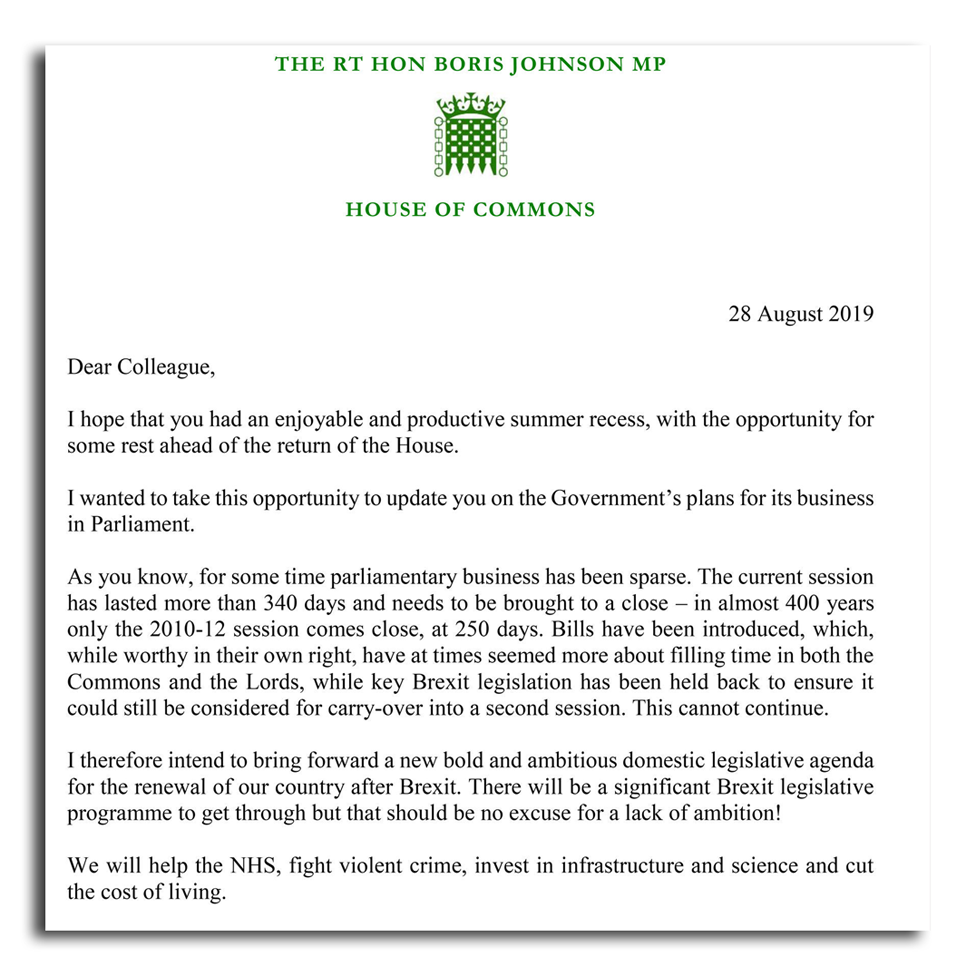Boris Johnson letter
