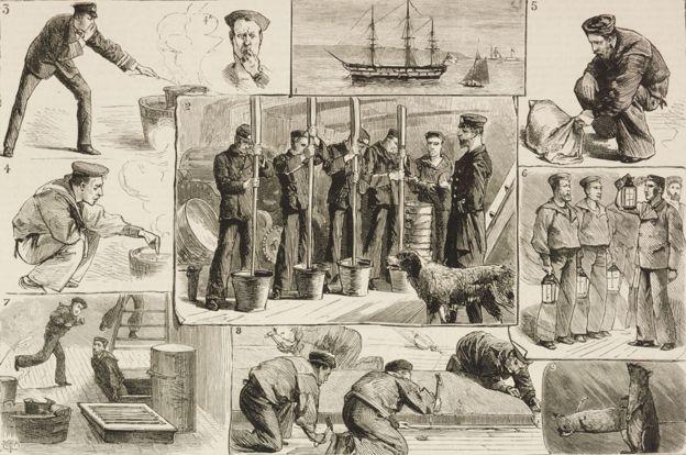 Fumigación de un barco en 1880