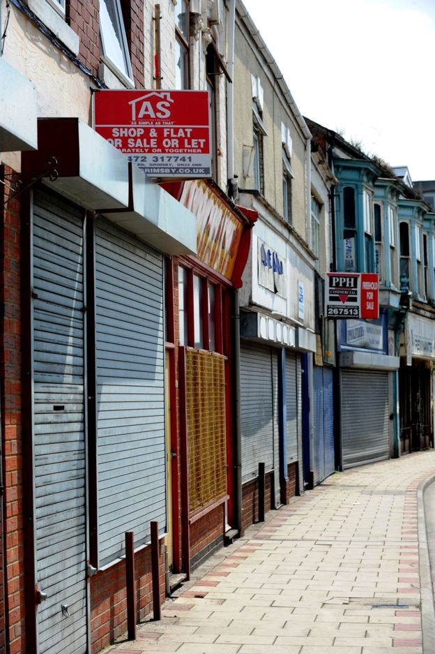 Business premises lie empty in Freeman street in Grimsby, it used to be the town's main shopping area