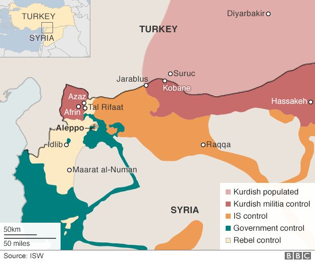 Map showing border crossings between Syria and Turkey and which group controls them - 13 October 2015
