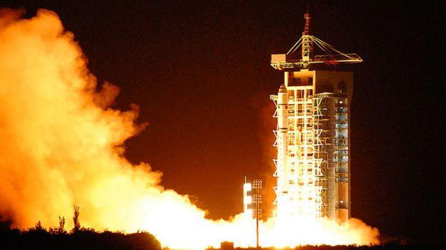 Lanzamiento de un satélite chino.