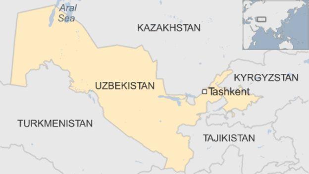 Map of Uzbekistan and surrounding region