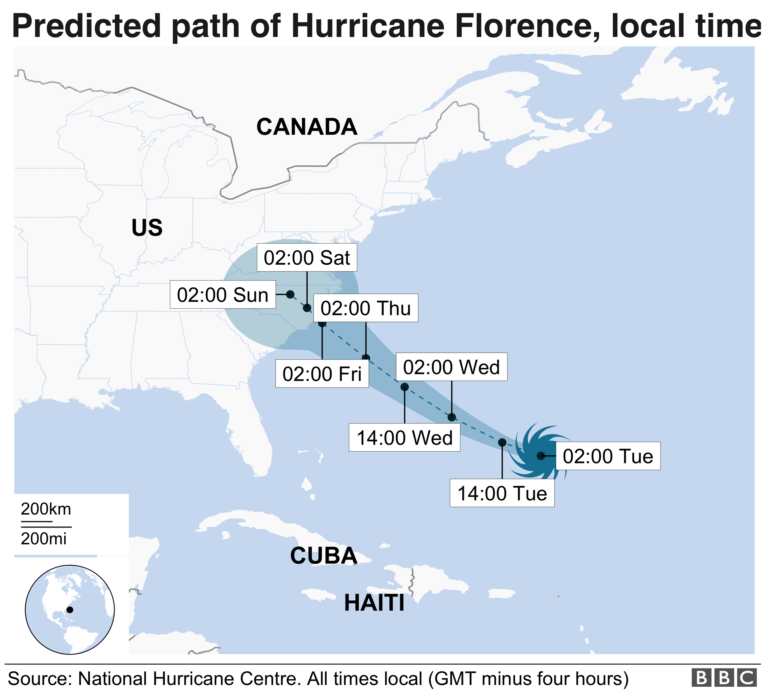 Map showing predicted path of Hurricane Florence