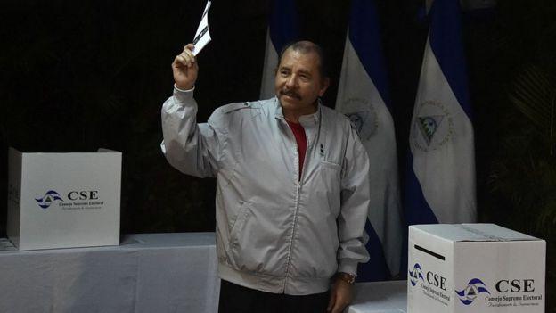 Ortega votando en 2016