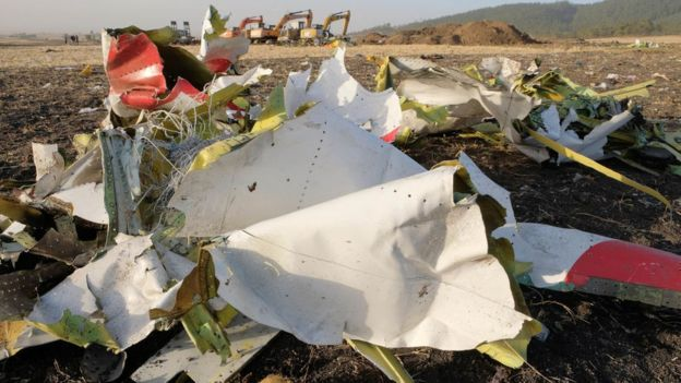 Wreckage lies at the crash site of Ethiopia Airlines Boeing 737 Max 8